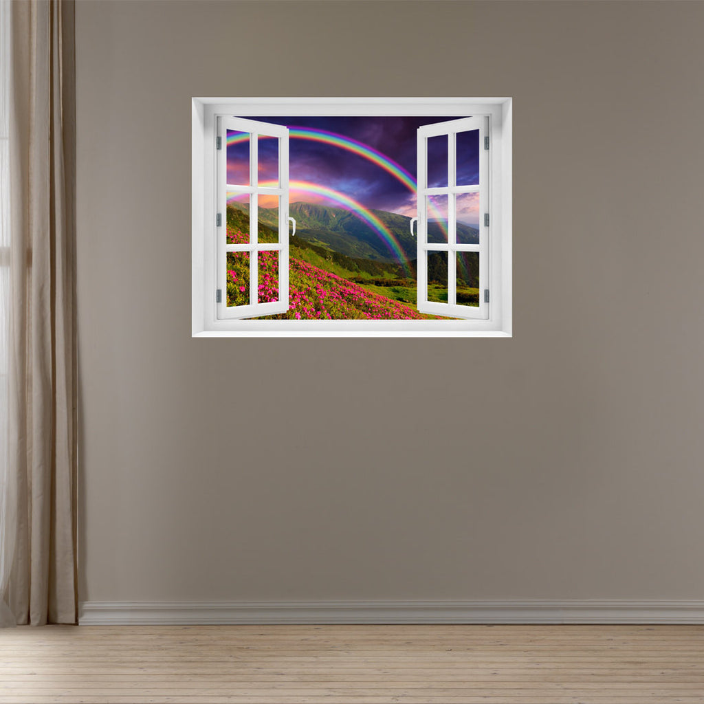 Window Wall Mural Rainbow Over The Flowers Peel And Stick Fabric Illusion 3d Wall Decal Photo Sticker