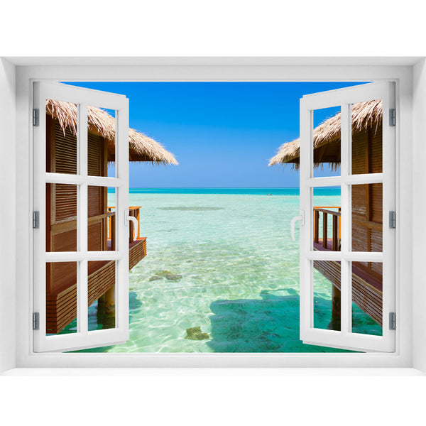 Window Wall Mural Bungalows on the sea, Peel and Stick Fabric Illusion 3D Wall Decal Photo Sticker