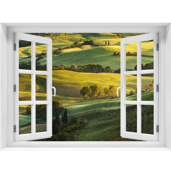 Window Wall Mural Beautiful landscape, Peel and Stick Fabric Illusion 3D Wall Decal Photo Sticker