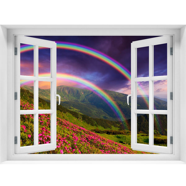 Window Wall Mural Rainbow over the flowers, Peel and Stick Fabric Illusion 3D Wall Decal Photo Sticker