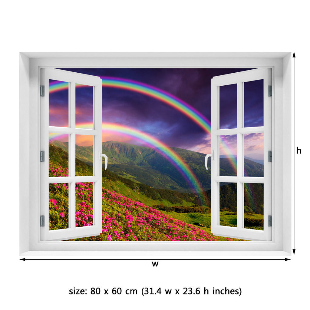 Window Wall Mural Rainbow Over The Flowers Peel And Stick Fabric