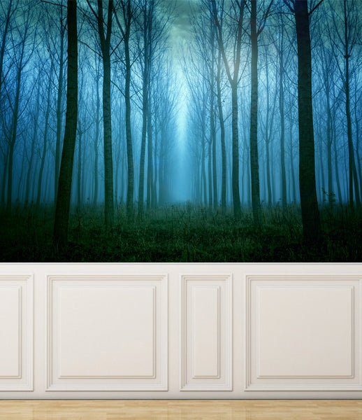 Wall Mural Among the Trees in the fog, Peel and Stick Repositionable Fabric Wallpaper for Interior Home Decor