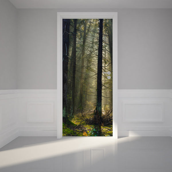 "Door Wall Sticker Morning sunlight - Peel & Stick Repositionable Fabric Mural 31""w x 79""h (80 x 200cm)"