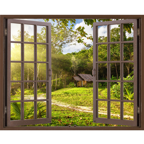 Window Frame Mural House and garden - Huge size - Peel and Stick Fabric Illusion 3D Wall Decal Photo Sticker