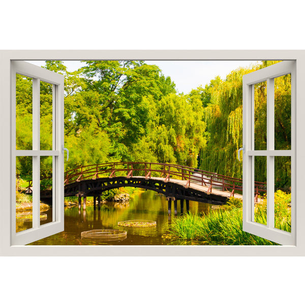 Window Frame Mural Garden bridge - Huge size - Peel and Stick Fabric Illusion 3D Wall Decal Photo Sticker