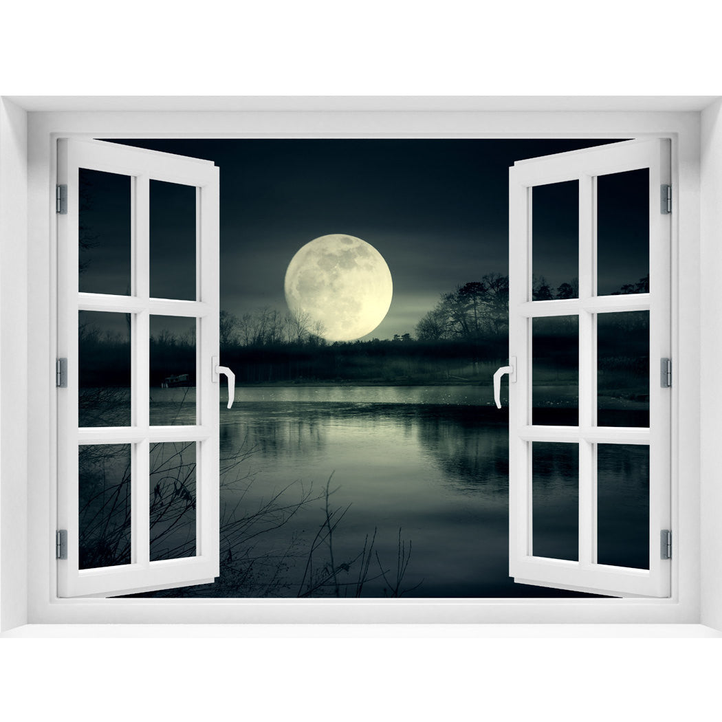 Window Wall Mural Full Moon Rise, Peel And Stick Fabric Illusion 3D Wall  Decal Photo Sticker
