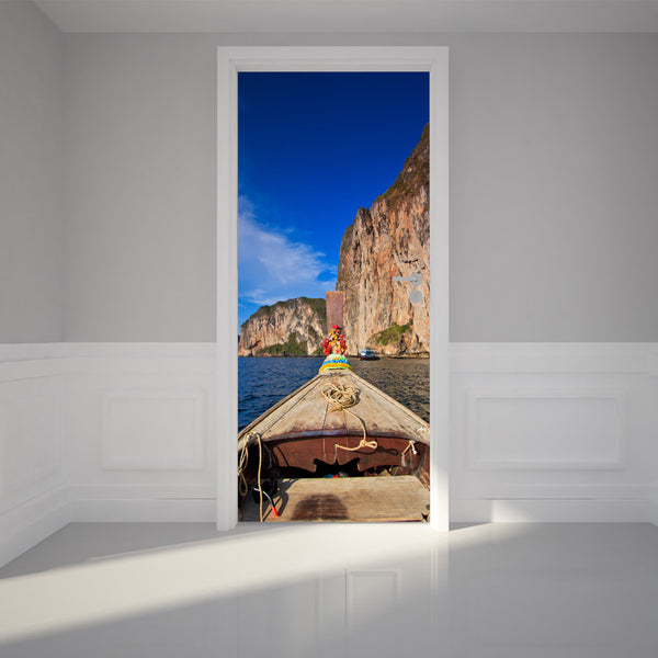 "Door Wall Sticker Head of longtail boat - Peel & Stick Repositionable Fabric Mural 31""w x 79""h (80 x 200cm)"