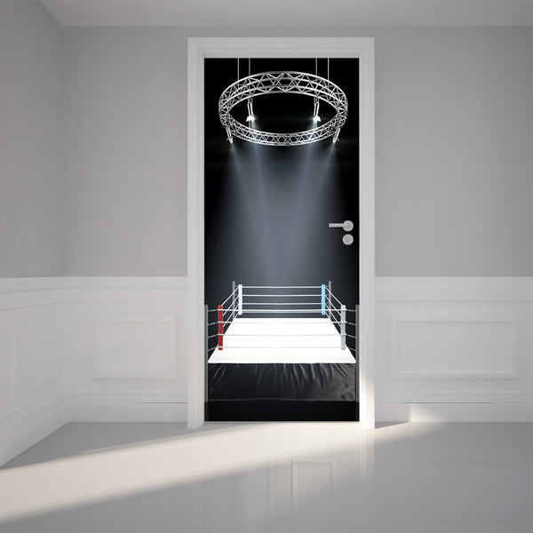 "Door Wall Sticker Boxing ring - Peel & Stick Repositionable Fabric Mural 31""w x 79""h (80 x 200cm)"