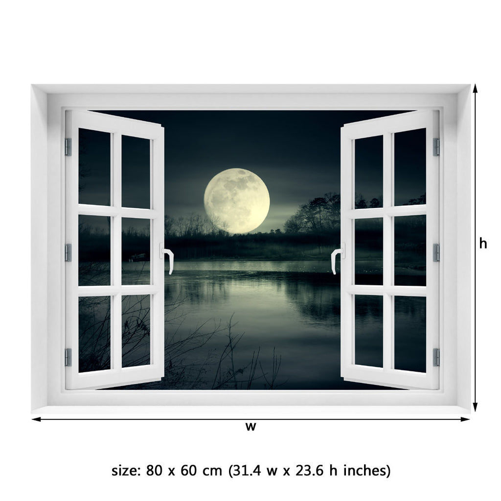 Window Wall Mural Full Moon Rise Peel And Stick Fabric Illusion 3d