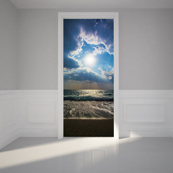 "Door Wall Sticker Beautiful sunset on the ocean - Peel & Stick Repositionable Fabric Mural 31""w x 79""h (80 x 200cm)"
