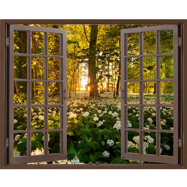 Window Frame Mural Wild garlic Forest - Huge size - Peel and Stick Fabric Illusion 3D Wall Decal Photo Sticker