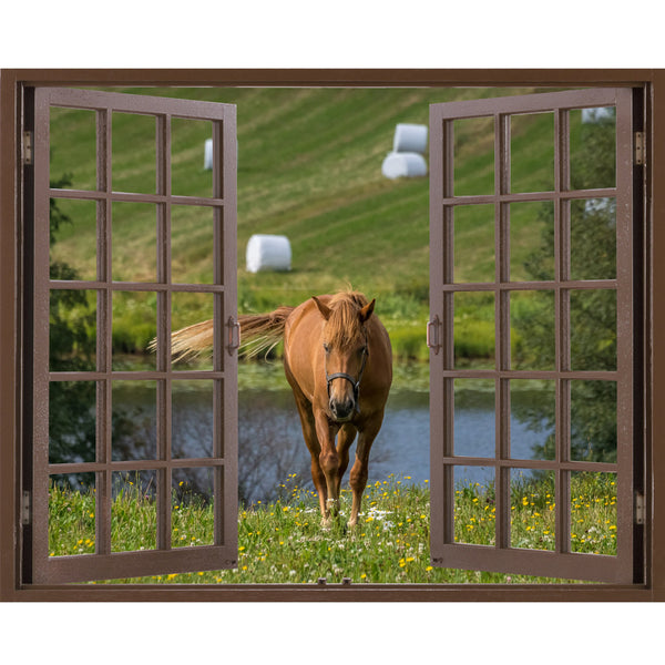 Window Frame Mural Walking in silence the Horse - Huge size - Peel and Stick Fabric Illusion 3D Wall Decal Photo Sticker