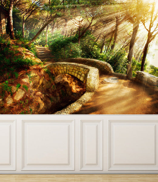 Wall Mural Mystical Pathway, Peel and Stick Repositionable Fabric Wallpaper for Interior Home Decor