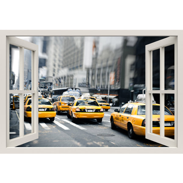 Window Frame Mural New York Cabs Taxis - Huge size - Peel and Stick Fabric Illusion 3D Wall Decal Photo Sticker