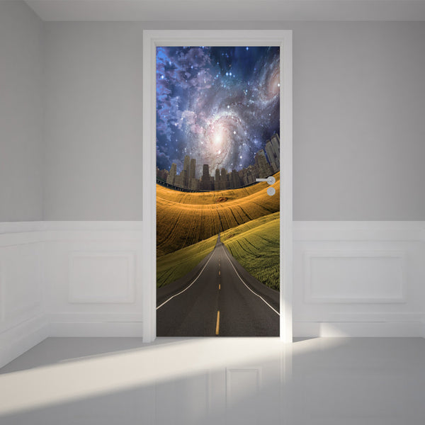 "Door Wall Sticker Road to fantasy city - Peel & Stick Repositionable Fabric Mural 31""w x 79""h (80 x 200cm)"