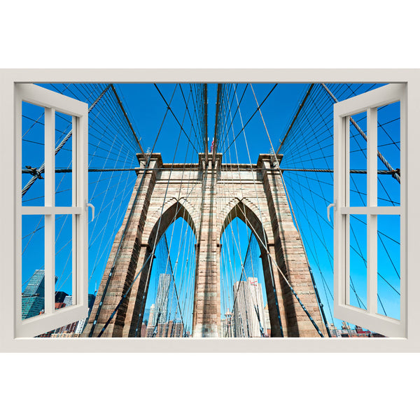 Window Frame Mural View of Brooklyn Bridge  - Huge size - Peel and Stick Fabric Illusion 3D Wall Decal Photo Sticker