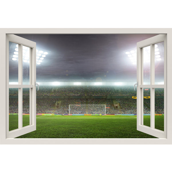 Window Frame Mural Soccer Stadium - Huge size - Peel and Stick Fabric Illusion 3D Wall Decal Photo Sticker