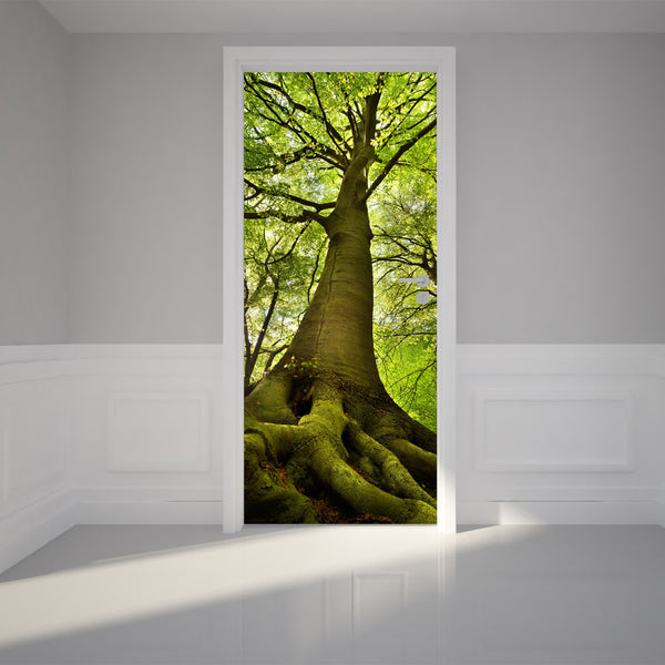 "Door Wall Sticker Old Tree - Peel & Stick Repositionable Fabric Mural 31""w x 79""h (80 x 200cm)"