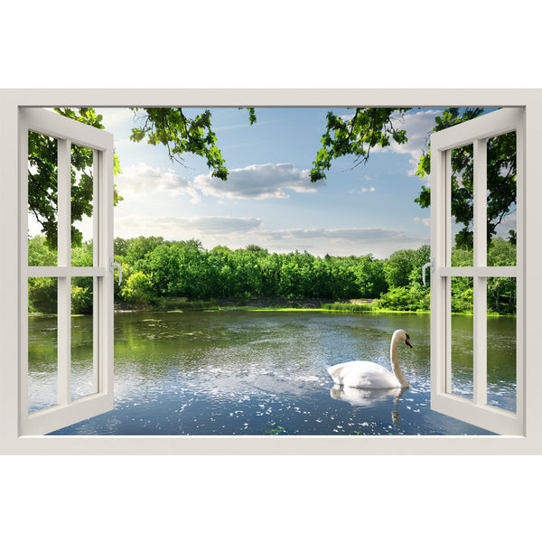 Window Frame Mural Swan on the river - Huge size - Peel and Stick Fabric Illusion 3D Wall Decal Photo Sticker