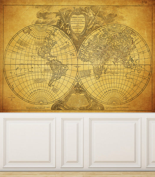 Wall Mural Grunge Old Map of the World, Peel and Stick Repositionable Fabric Wallpaper for Interior Home Decor
