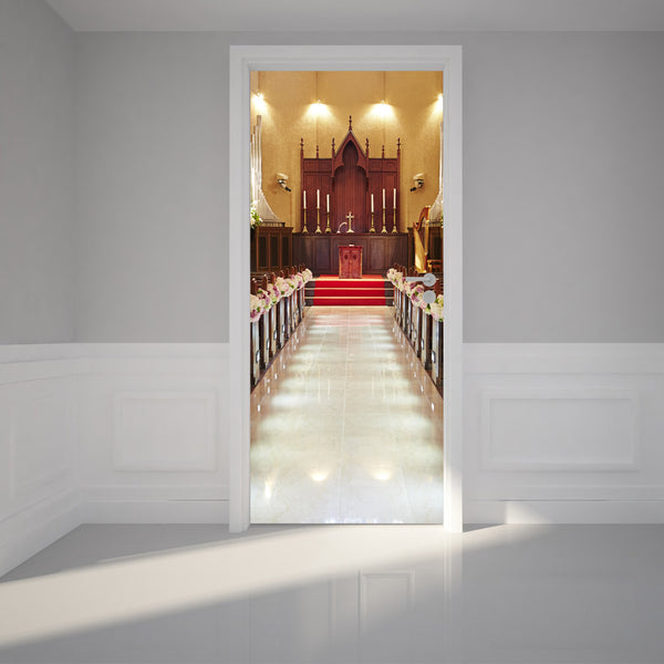 "Door Wall Sticker Church interior - Peel & Stick Repositionable Fabric Mural 31""w x 79""h (80 x 200cm)"
