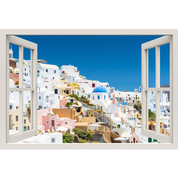 Window Frame Mural View of Santorini - Huge size - Peel and Stick Fabric Illusion 3D Wall Decal Photo Sticker