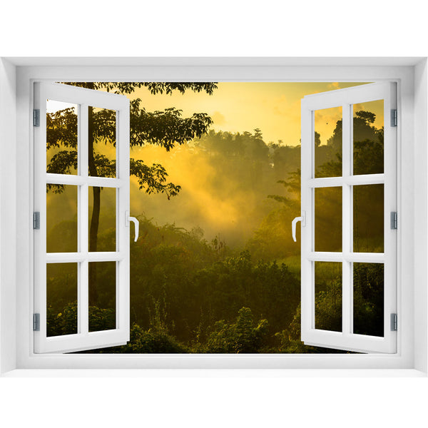 Window Wall Mural Sunrise over jungle, Peel and Stick Fabric Illusion 3D Wall Decal Photo Sticker