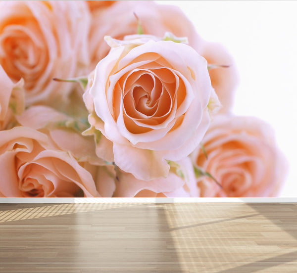 Wall Mural Flower Photography Bouquet of Roses, Peel and Stick Repositionable Fabric Wallpaper for Interior Home Decor