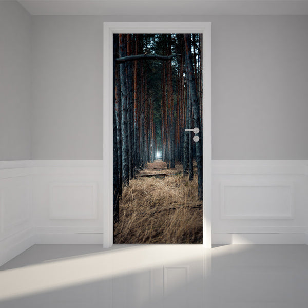 "Door Wall Sticker Scary forest - Peel & Stick Repositionable Fabric Mural 31""w x 79""h (80 x 200cm)"