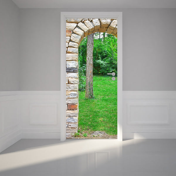 "Door Wall Sticker Stone arch gate through green forest - Peel & Stick Repositionable Fabric Mural 31""w x 79""h (80 x 200cm)"