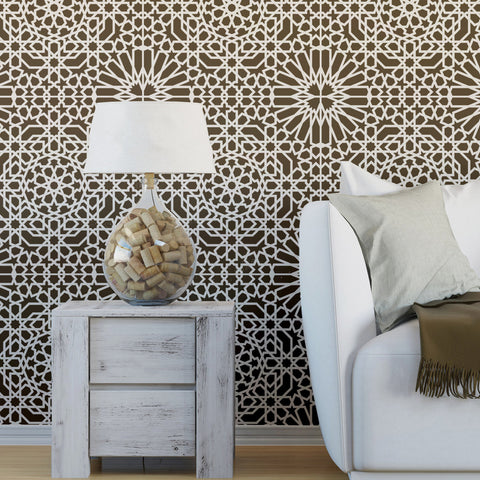 Reusable Wall Moroccan Stencil Ain Beida, Allover Stencil for Home Decorating