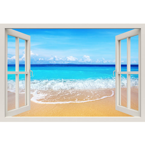 Window Frame Mural Beach - Huge size - Peel and Stick Fabric Illusion 3D Wall Decal Photo Sticker
