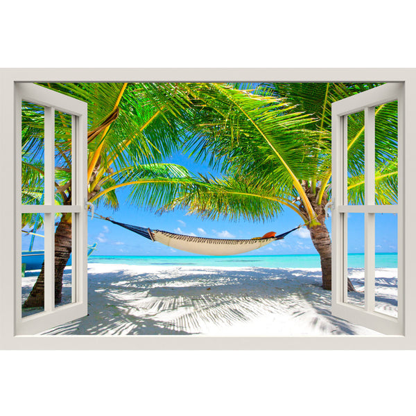 Window Frame Mural Relaxed beach - Huge size - Peel and Stick Fabric Illusion 3D Wall Decal Photo Sticker