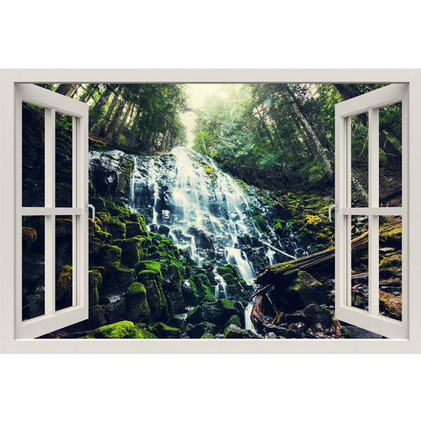 Window Frame Mural Lush Jungle falls - Huge size - Peel and Stick Fabric Illusion 3D Wall Decal Photo Sticker