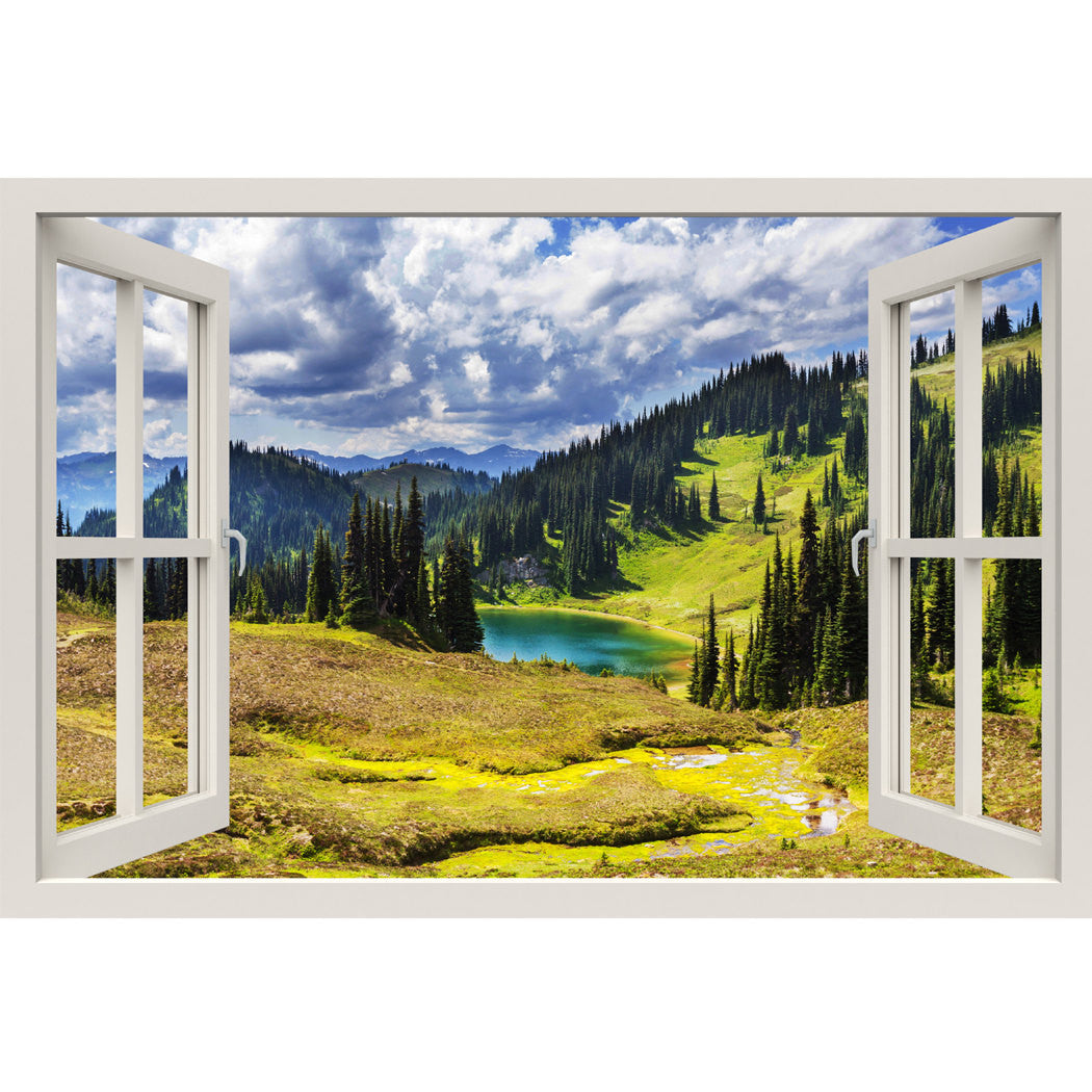 Window Frame Mural Great view of lake - Huge size - Peel and Stick ...