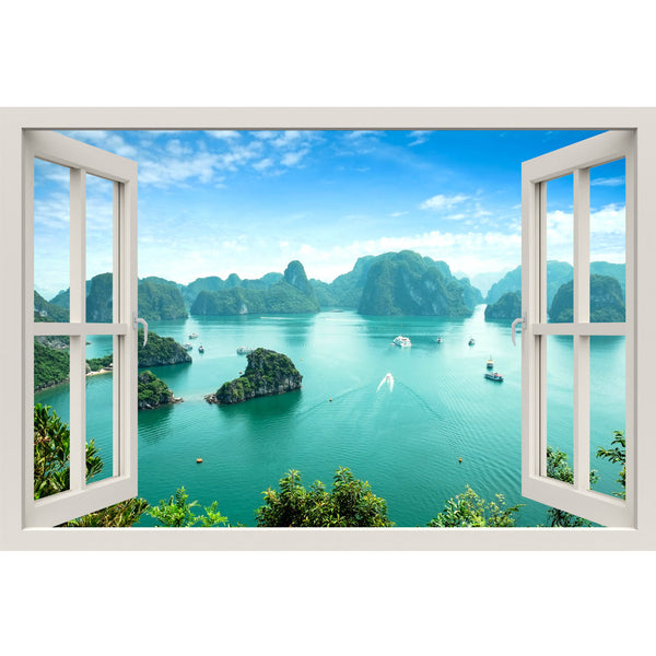 Window Frame Mural Halong Bay - Huge size - Peel and Stick Fabric Illusion 3D Wall Decal Photo Sticker