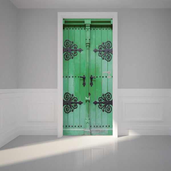 "Door Wall Sticker Ancient green door - Peel & Stick Repositionable Fabric Mural 31""w x 79""h (80 x 200cm)"