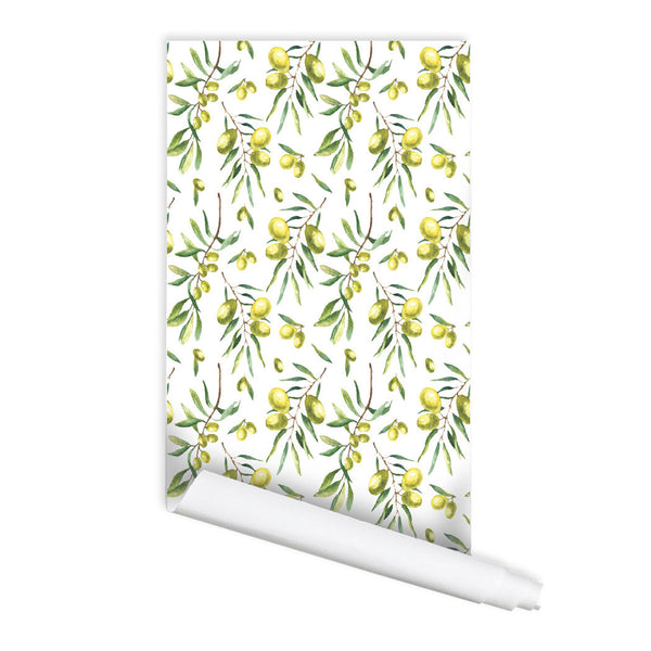Green Olive branch Pattern Self adhesive Peel and Stick Repositionable Fabric Wallpaper