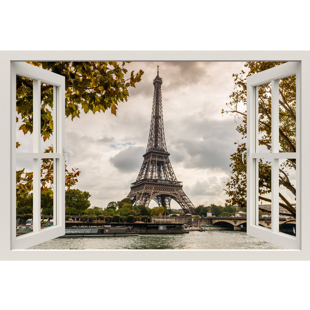 Window Frame Mural Eiffel Tower Seine - Huge size - Peel and Stick Fabric Illusion 3D Wall Decal Photo Sticker  sc 1 st  RoyalWallSkins & Window Frame Mural Eiffel Tower Seine - Huge size - Peel and Stick ...