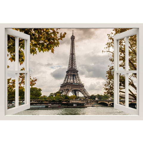 Window Frame Mural Eiffel Tower, Seine - Huge size - Peel and Stick Fabric Illusion 3D Wall Decal Photo Sticker