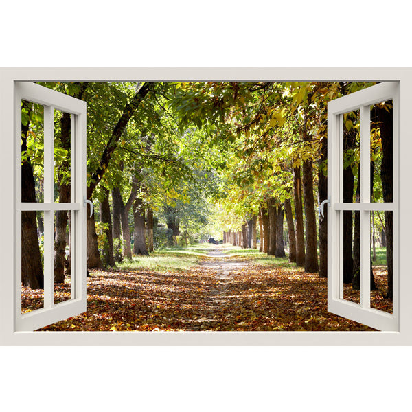 Window Frame Mural Park Footpath - Huge size - Peel and Stick Fabric Illusion 3D Wall Decal Photo Sticker