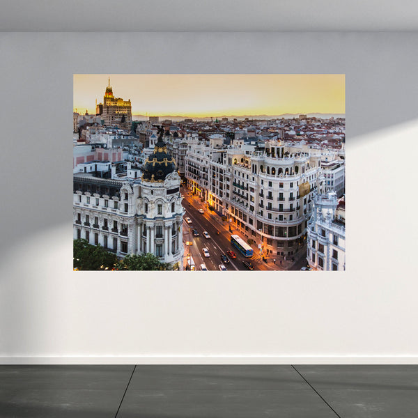 Wall Mural Gran Via in Madrid, Peel and Stick Repositionable Fabric Wallpaper for Interior Home Decor