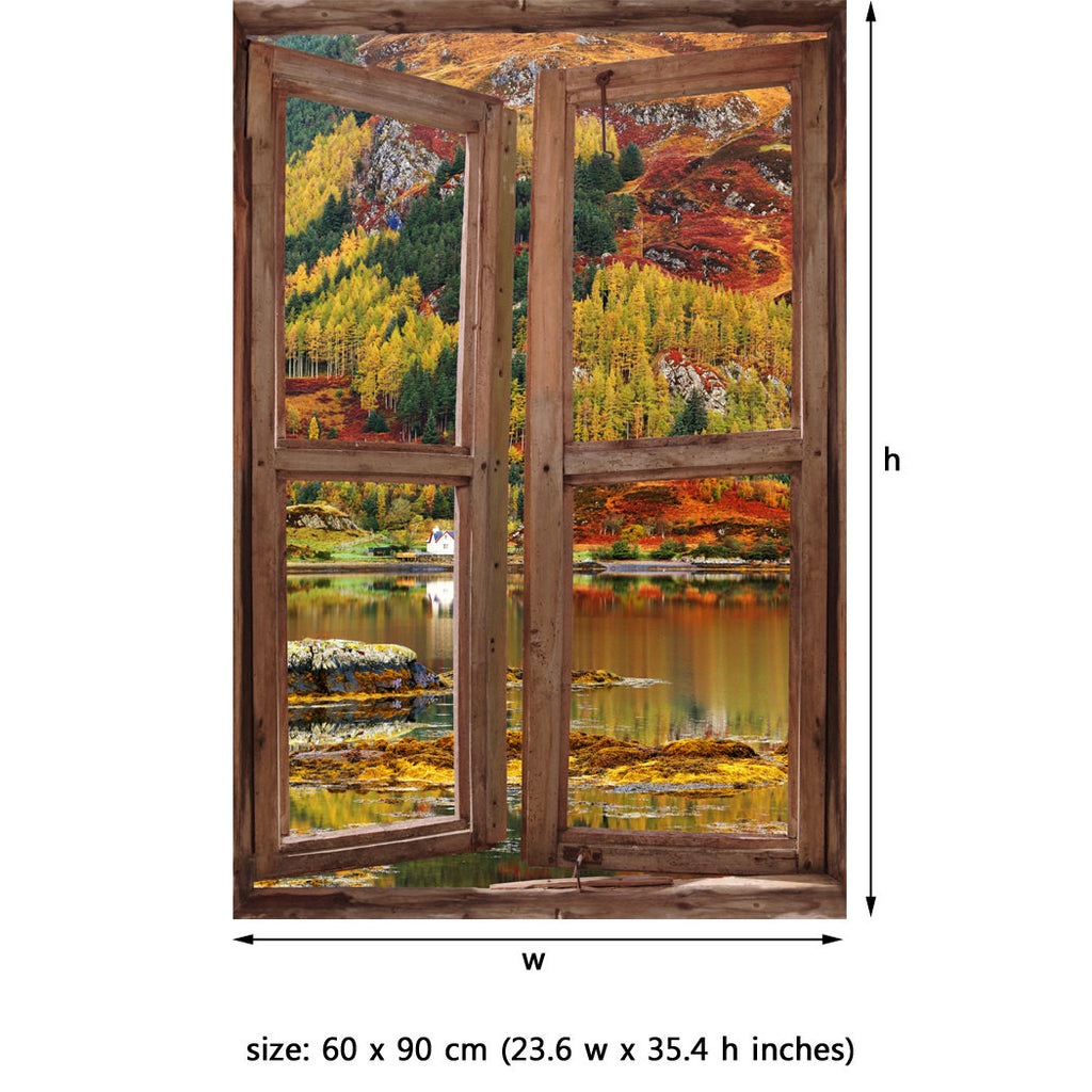 Window Wall Mural Highlands Peel And Stick Fabric Illusion 3d Wall