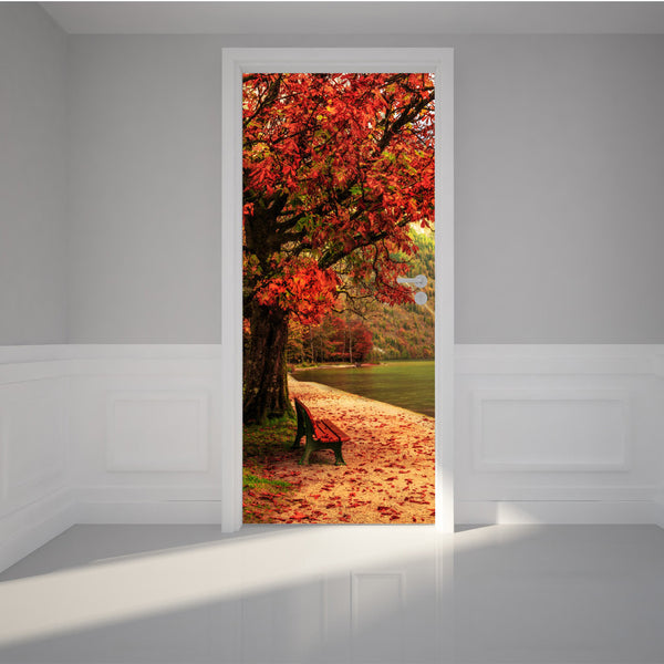 "Door Wall Sticker Lovely Autumn at the calm lake - Peel & Stick Repositionable Fabric Mural 31""w x 79""h (80 x 200cm)"