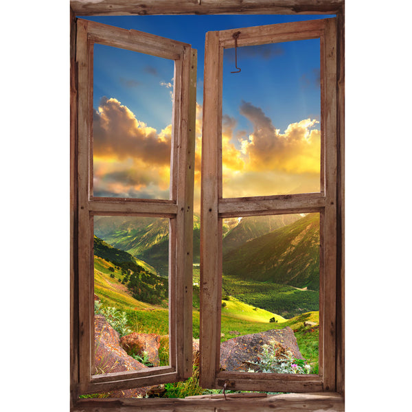 Window Wall Mural Valley during sunset, Peel and Stick Fabric Illusion 3D Wall Decal Photo Sticker