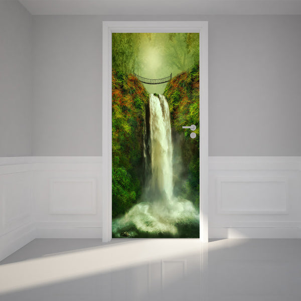 "Door Wall Sticker South Falls and bridge - Peel & Stick Repositionable Fabric Mural 31""w x 79""h (80 x 200cm)"