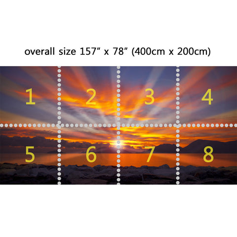 Wall Mural Dramatic sunset, Peel and Stick Repositionable Fabric Wallpaper for Interior Home Decor