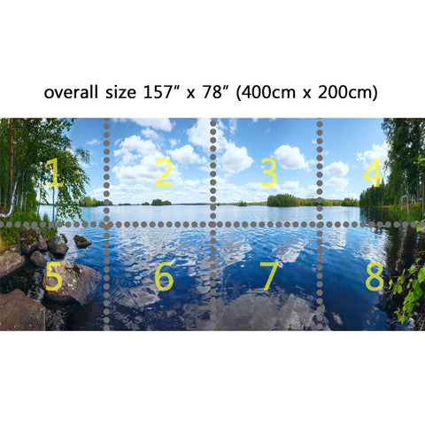 Wall Mural Beautiful lake view, Peel and Stick Repositionable Fabric Wallpaper for Interior Home Decor