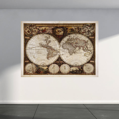 Wall Mural Ancient vintage world map, Peel and Stick Repositionable Fabric Wallpaper for Interior Home Decor