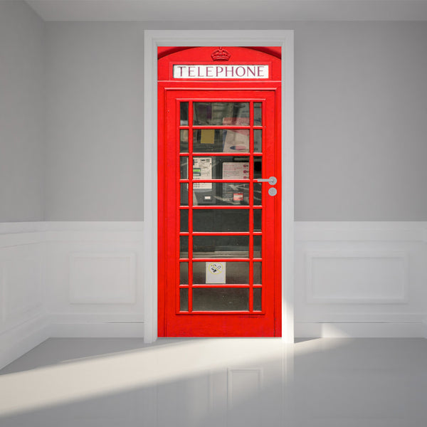 "Door Wall Sticker British Phone Booth inside telephone - Self Adhesive Peel & Stick Repositionable Fabric Mural 31""w x 79""h (80 x 200cm)"